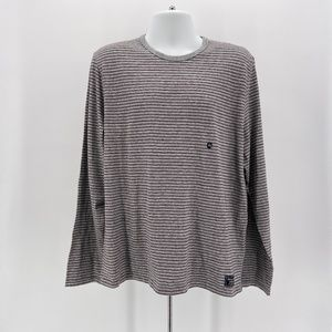 NWOT Abercrombie & Fitch Gray Maroon Stripe Shirt